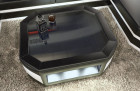 Leather Coffee Table Dallas with glass plate black-white