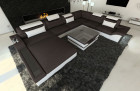Modern Fabric Sofa Orlando with LED Lights darkbrown - Hugo 11