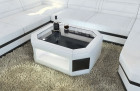Leather Coffee Table Dallas with glass plate white-black