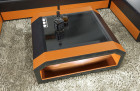 Leather Coffee Table Houston with glass plate orange-black