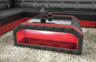 Leather Coffee Table Houston with glass plate red-black