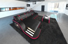 Luxury Sectional Sofa with LED lightings black-pink