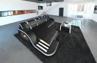Luxury Sectional Sofa with LED lightings black-white
