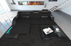 Fabric Sofa Detroit L Shape LED black - Hugo 14