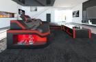Design Sectional Sofa Detroit LED L Shape black-red