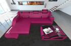 Design Sectional Sofa Detroit LED L Shape pink-black