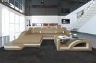 Modern Corner Sofa Detroit L Shaped sandbeige-white