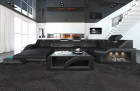 Modern Leather Sofa Detroit With LED Lights black-grey