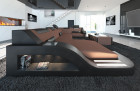 Fabric Sofa Detroit U Shape LED brown - Mineva 5
