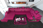 Modern Leather Sofa Detroit With LED Lights pink-black