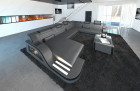 Modern Leather Sofa Detroit with LED grey-black
