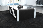 Coffee Table Leather black-white with glass plate