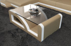 Coffee Table Leather sandbeige-white