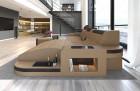 Luxury Sectional Sofa Jacksonville L Shape LED sandbeige-darkbrown