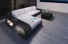 Wicker Patio Sofa Houston L with LED black-beige