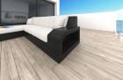 Wicker Patio Sofa Houston L with LED black-beige