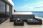 Wicker Patio Sofa Houston L with LED black-grey