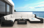 Patio Furniture Outdoor Sofa Houston with Lights black-beige