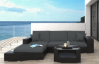 Rattan Patio Wicker Sofa Los Angeles with LED black-grey