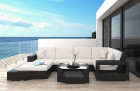 Rattan Patio Wicker Sofa Los Angeles black-beige