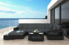 Wicker Lounge Sofa Los Angleles with Lights black-grey