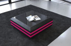 Coffee Table Leather Hollywood extendable (black-pink)