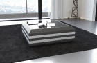 coffee table leather grey-white with glass plate (grey-white)