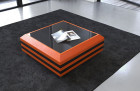 Coffee Table Leather Hollywood extendable (orange-black)