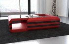 coffee table leather grey-white with glass plate (red-black)