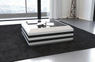 coffee table leather grey-white with glass plate (white-black)