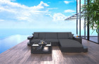 Wicker Patio Sofa Jacksonville L Shaped with LED black-grey