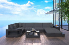 Wicker Patio Sofa Jacksonville U with LED black-grey