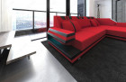 Luxury Sofa Hollxwood with LED Lights and USB red - Mineva 20