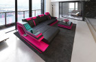 Modern Leather Sofa Hollywood with LED pink-black
