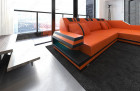 Luxury Sectional Sofa Hollywood L Shape with LED and USB orange-black