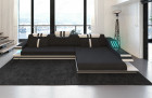 Modern Sectional Fabric Sofa Hollywood L Shape with LED and USB black - Hugo 14