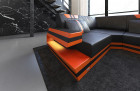 Design Sectional Sofa Hollywood U Shape whits LED and USB black-orange