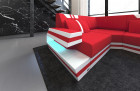 Fabric Design Sofa Hollywood U shape with LED red - Mineva 20