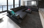 Luxury Leather Sofa Hollywood with LED and USB black