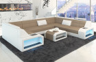 Designer Sectional Fabric Sofa San Jose U Shape with LED Lights in Mineva 6 - macchiato