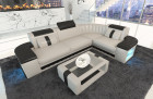 Corner Sofa Couch Philadelphia with LED lights in beige - black