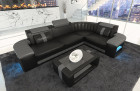 Corner Sofa Philadelphia with LED lights in black - grey