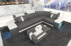 Luxury Leather Sofa Philadelphia L Shape in grey - white