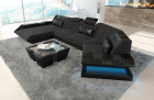 Modern Sectional Sofa New Jersey with LED Hugo 12 - Black - Grey