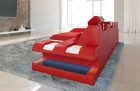 Leather sofa New Jersey L-Shape with LED - red-white