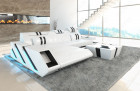 Leather sofa New Jersey L-Shape with LED - white-black