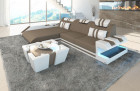 Fabric Leather Mix Sofa New Jersey L Shape - sand - Mineva 21