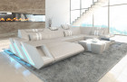 Modern Leather Sofa With LED Lights an USB - beige-white