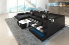 Luxury Sectional Sofa New Jersey U Shape - black-white