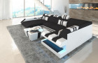 Fabric Leather Mix Sofa New Jersey U Shape black - Mineva 14